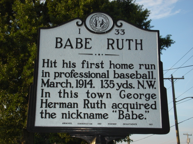 Historical Marker for Babe Ruth's First Home Run as a Pro
