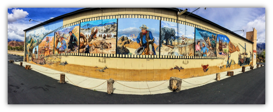 The mural on the Museum of Western Film History building painted by John Knowlton.