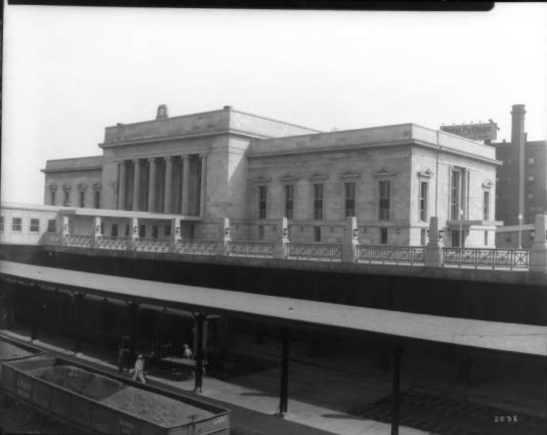 A view of the station facing the tracks in 1930. Bostwick, Louis, and Homer Frohardt. Burlington Railway Company, Station Following Renovations. August 13, 1930. Bostwick-Frohardt Collection, The Durham Museum,      Omaha.