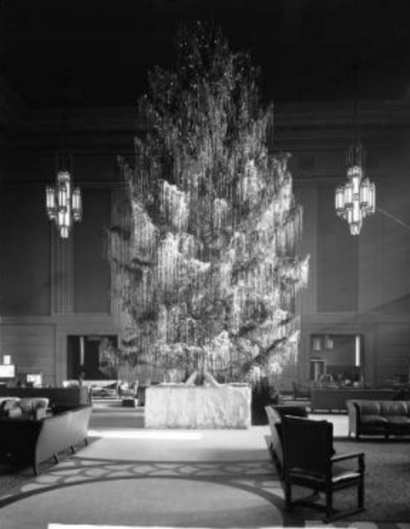 Christmas at Burlington Station in 1938. Bostwick, Louis, and Homer Frohardt. Burlington Railroad; Christmas Tree at Burlington Station. December 27, 1938. Bostwick-Frohardt Collection, The Durham Museum,      Omaha.