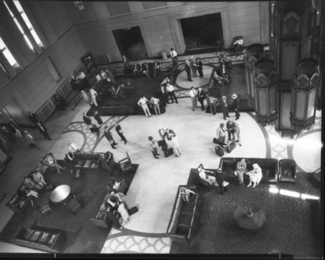 A birds-eye view of the waiting area in the 1930s. Bostwick, Louis, and Homer Frohardt. Burlington Railway Company, Station Following Renovations. August 13, 1930. Bostwick-Frohardt Collection, The Durham Museum,      Omaha.