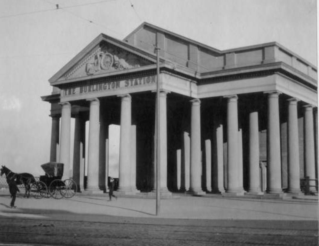 The Burlington Station in 1906. Bostwick, Louis, and Homer Frohardt. Burlington Railway Company. 1906. Bostwick-Frohardt Collection, The Durham Museum, Omaha.