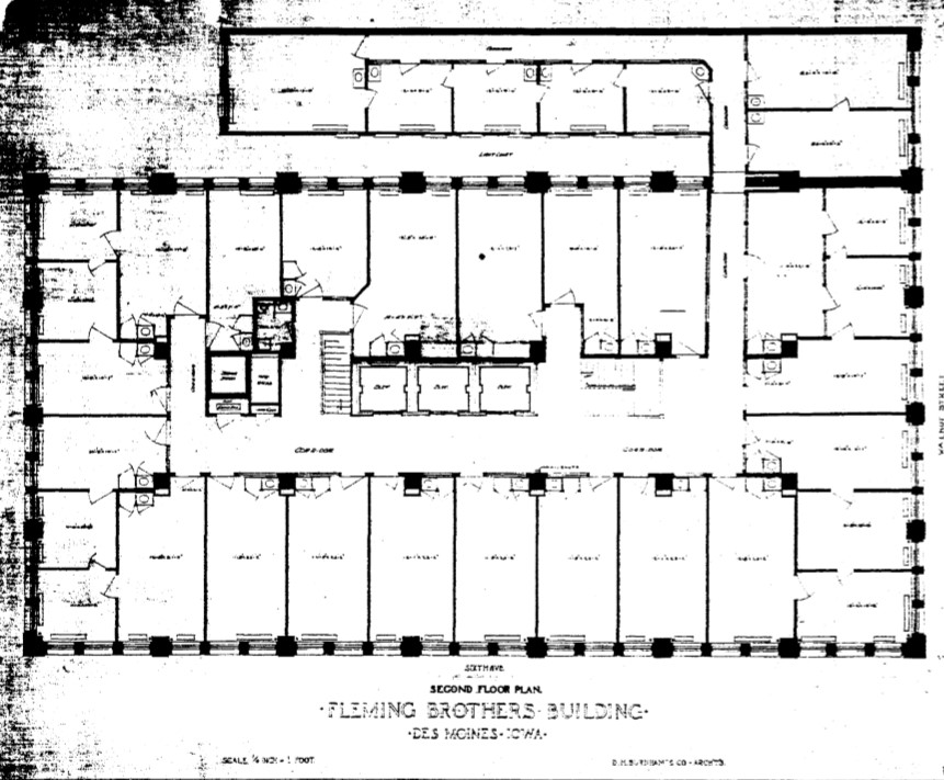 Original plan for second floor bank in Fleming Building by D.H. Burnham and Co. in 1907