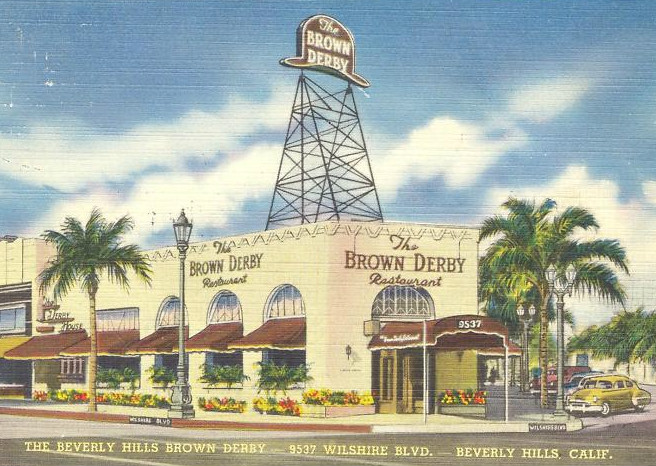 A postcard of the Beverly Hills Brown Derby in the 1930s.