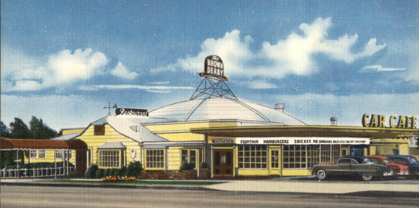 "A postcard of the Los Feliz Brown Derby in the 1940s or 1950s. This building was featured on the TV show ""Happy Days"" as the new Arnold's restaurant."