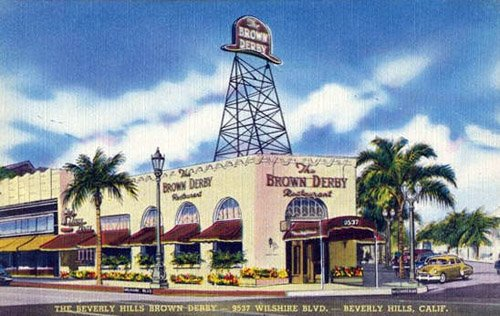 The iconic Beverly Hills Brown Derby was located on this corner from 1937 to the early 1980s.