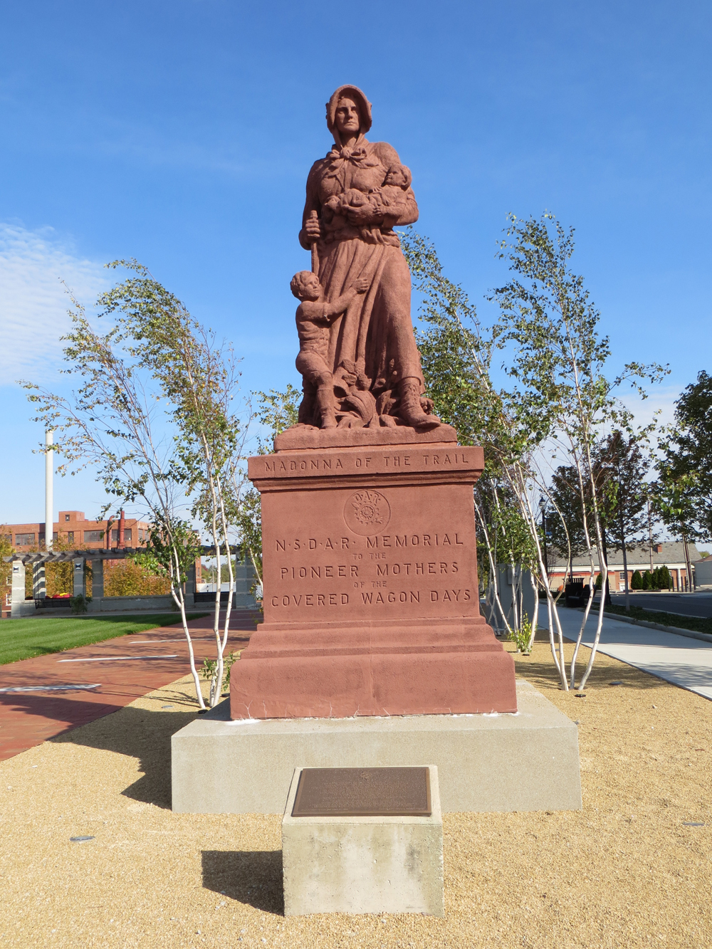 Madonna of the Trail statue in 3rd location (2011-present): National Road Commons, Springfield, Ohio, 2012