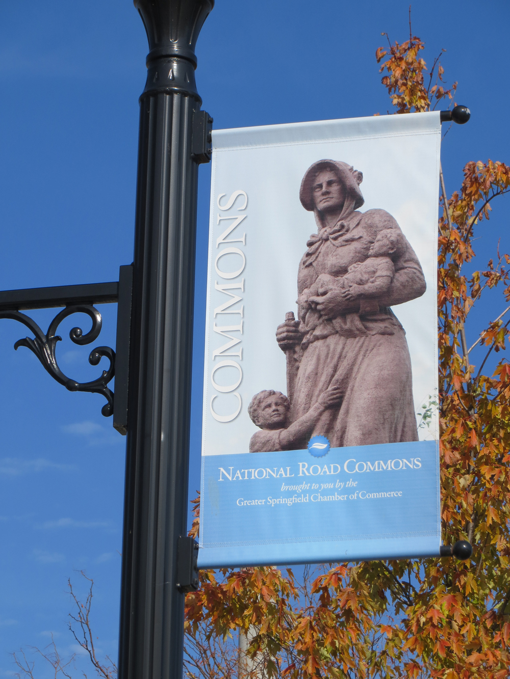 Madonna of the Trail featured on National Road Commons banner