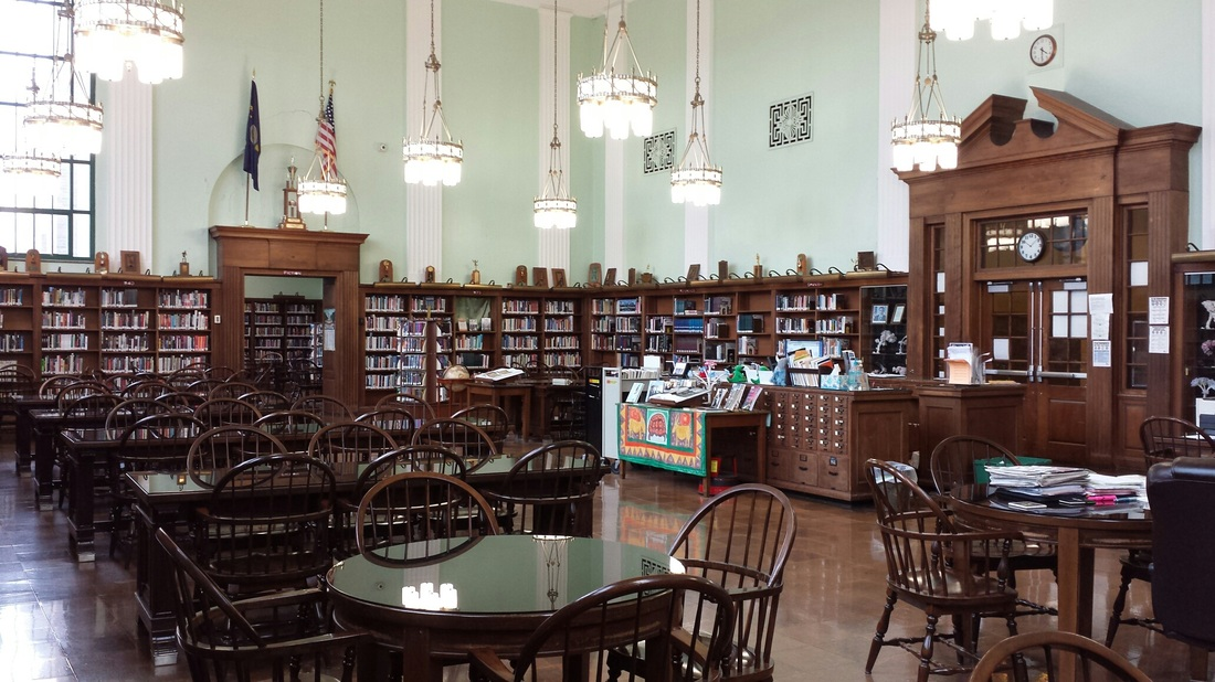 The school's library, with Art Deco light fixtures