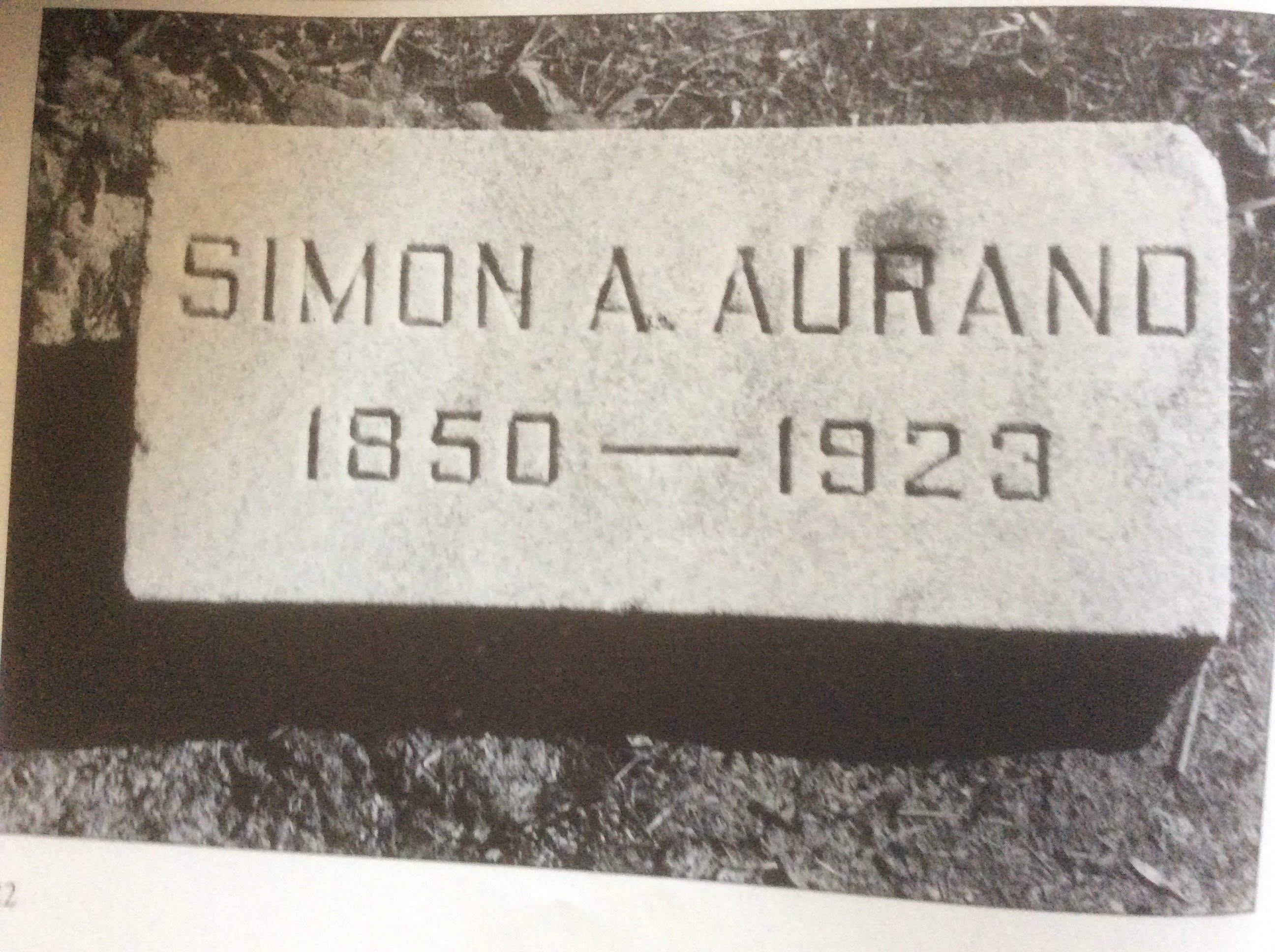 Grave site of Simon A. Aurand, who lived 1850-1923.