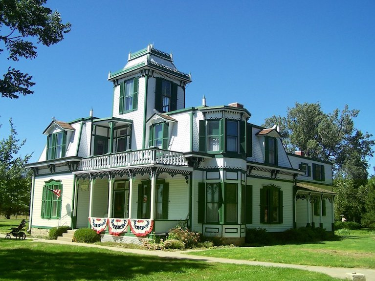 The historic ranch house is an excellent example of Second Empire architecture with Italianate and Eastlake features.