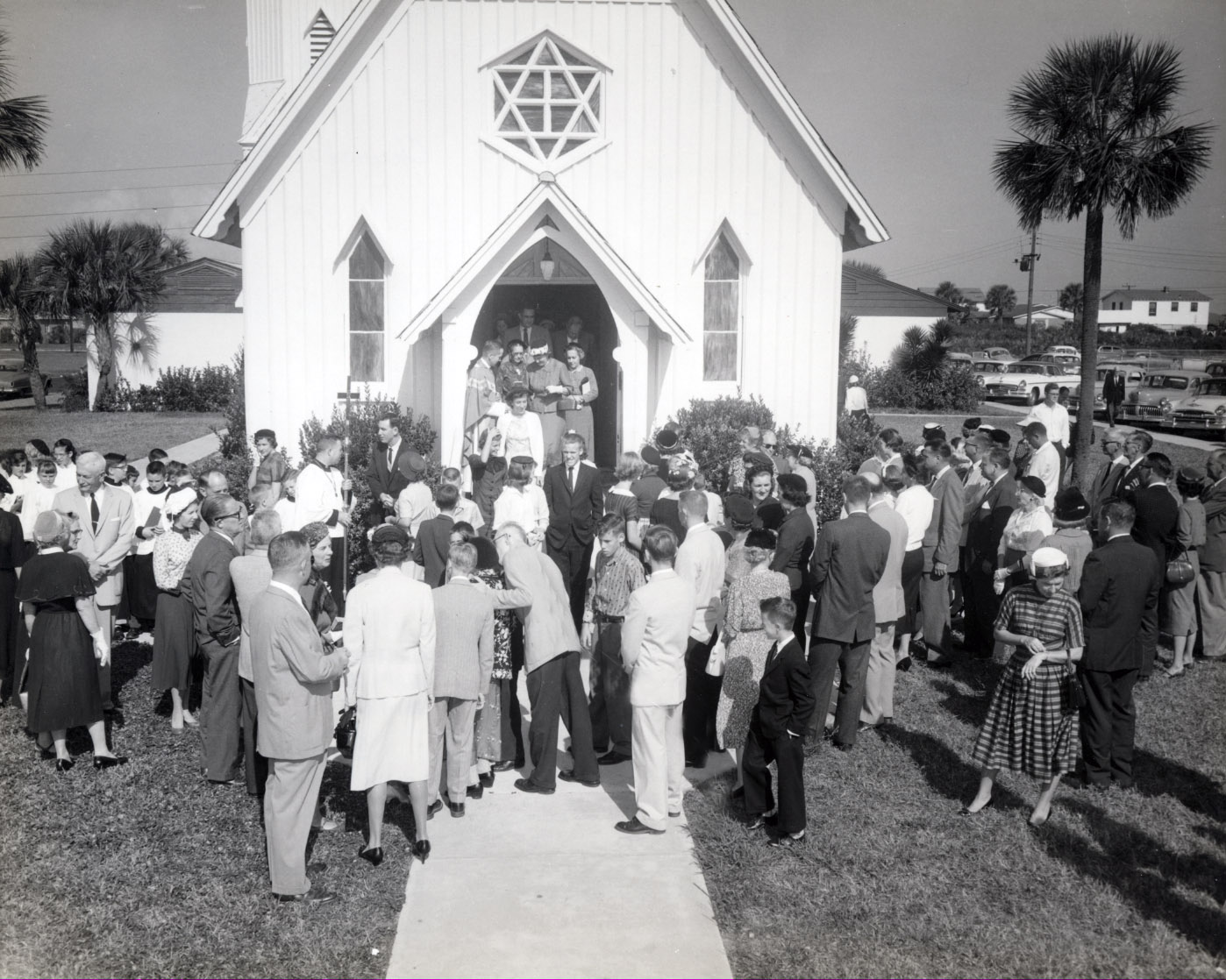 This 1955 photograph shows the church in its second location at 11th Avenue North and 5th Street in Jacksonville Beach.