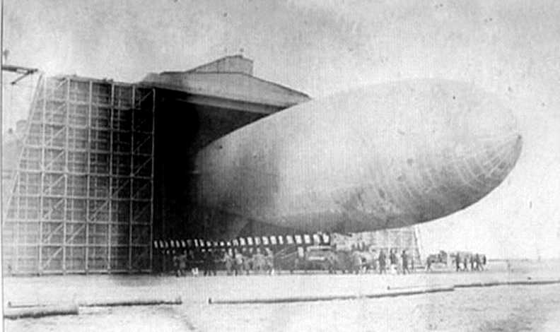 A U.S. Navy antisubmarine blimp leaving the hanger at Air station Cape May in 1918 (Now U.S. Coast Guard Training center Cape May) Courtesy of Dick Gibbs