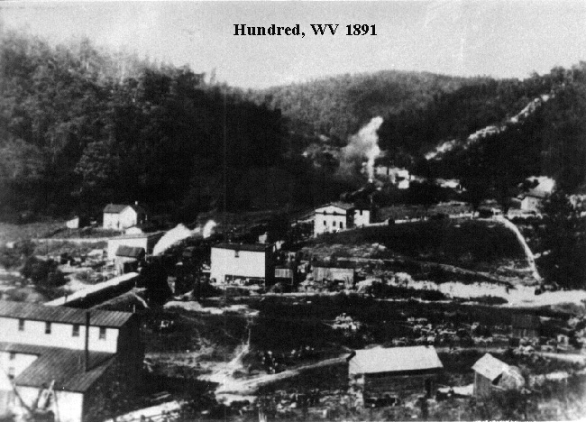 The town of Hundred in 1891.