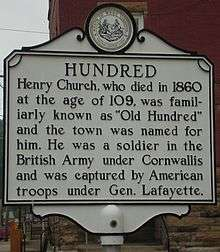 The historical marker in Hundred.