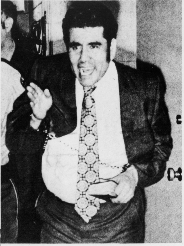 Convicted serial killer Juan Corona exits the Fairfield, CA courtroom in 1973 after being sentenced to 25 consecutive life-terms in prison for the murder of 23 migrant farm workers. Corona's brother Natividad briefly owned the Silver Dollar Saloon.