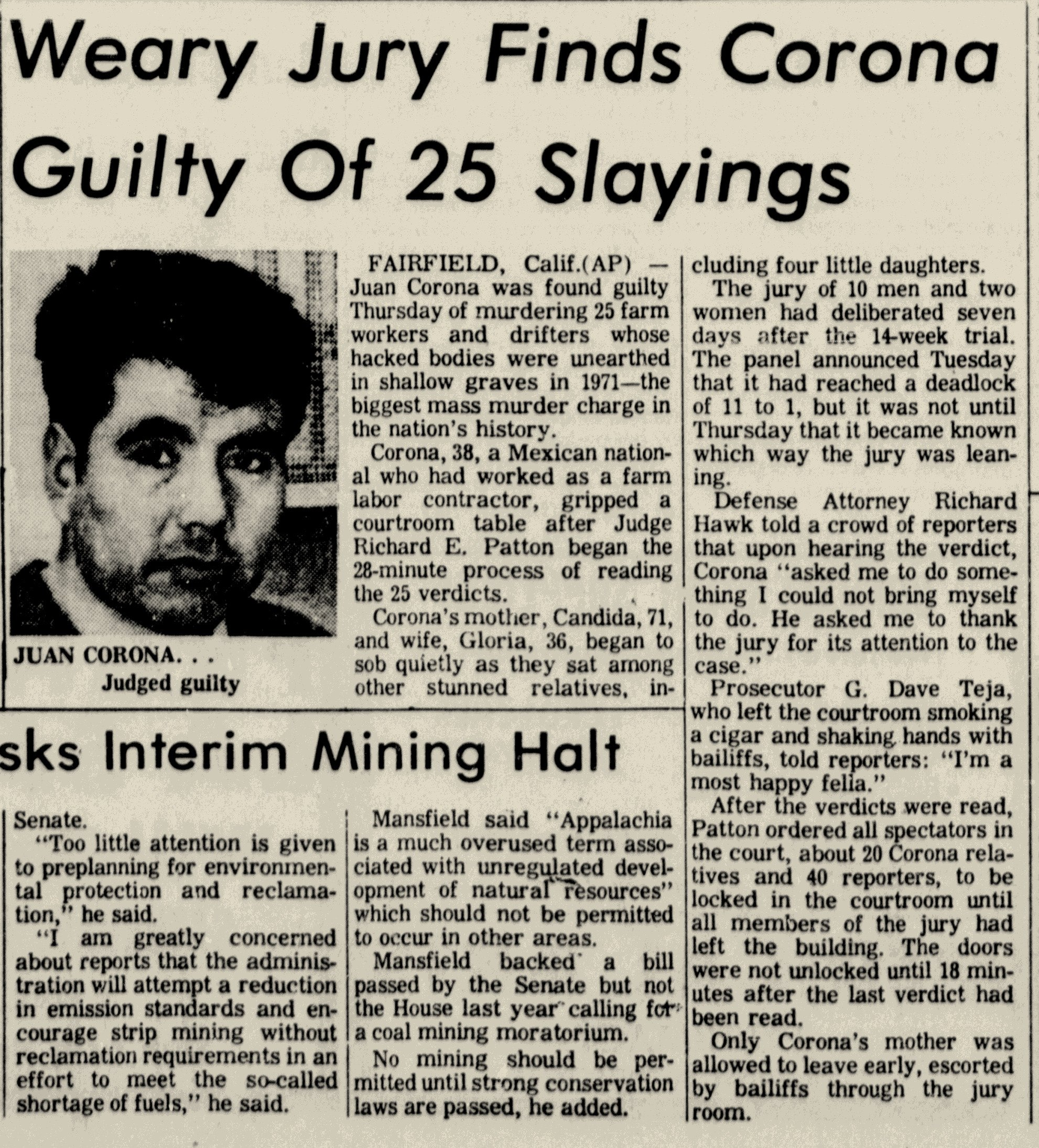 As the deadliest serial killer in American history at the time, Juan Corona was national news. Here, his verdict appears in West Virginia's Bluefield Daily Telegraph (19 Jan. 1973, p. 17).