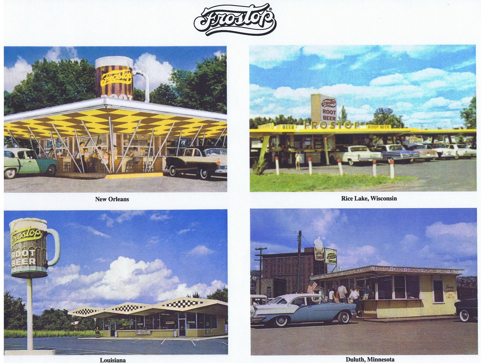 Four vintage Frostop locations