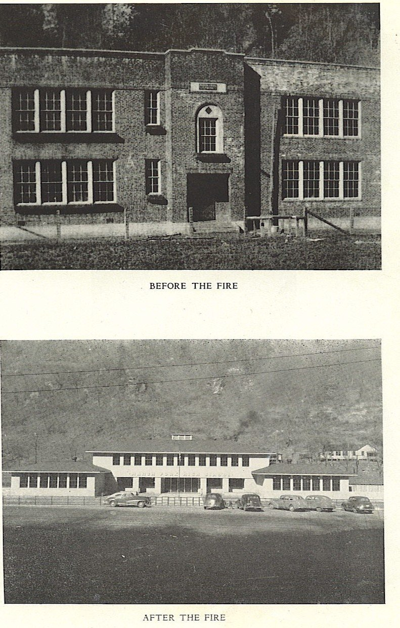 Top- Old School before the fire Bottom- New School after the fire