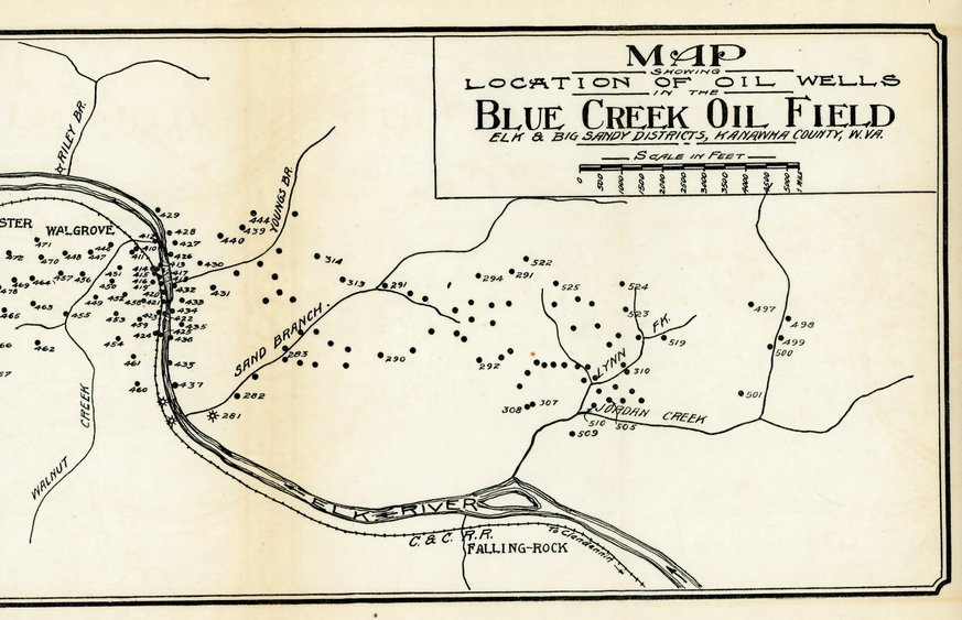 A map of the Blue Creek Oil Field.