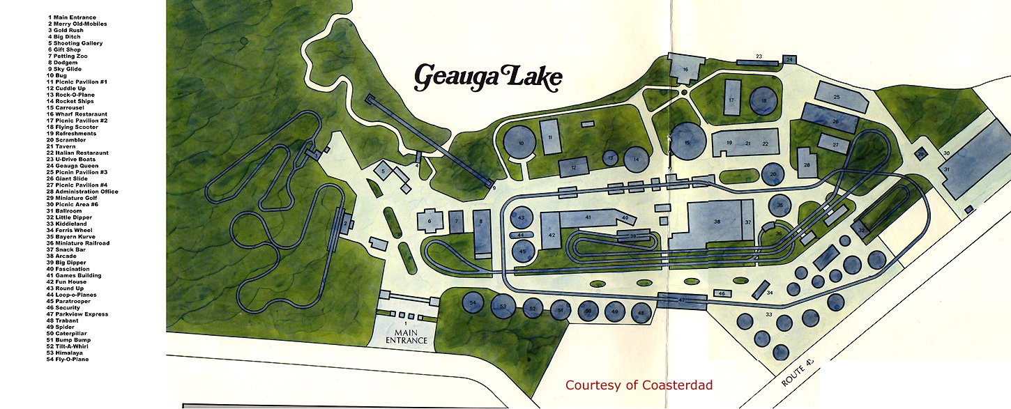 The first park map of Geauga Lake in 1973.