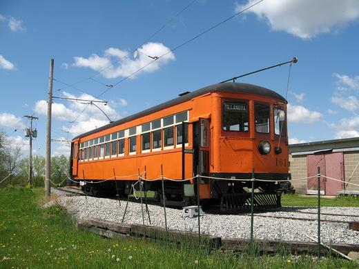 One of fourteen trolleys on display at the Rochester Museum of Transportation.