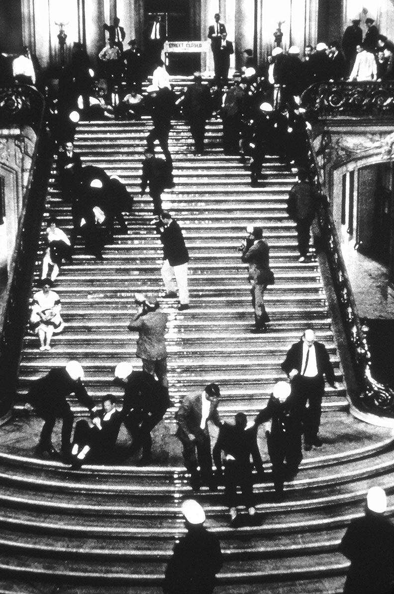 Anti-HUAC student protesters being hosed down the stairs of City Hall by police on May 13, 1960