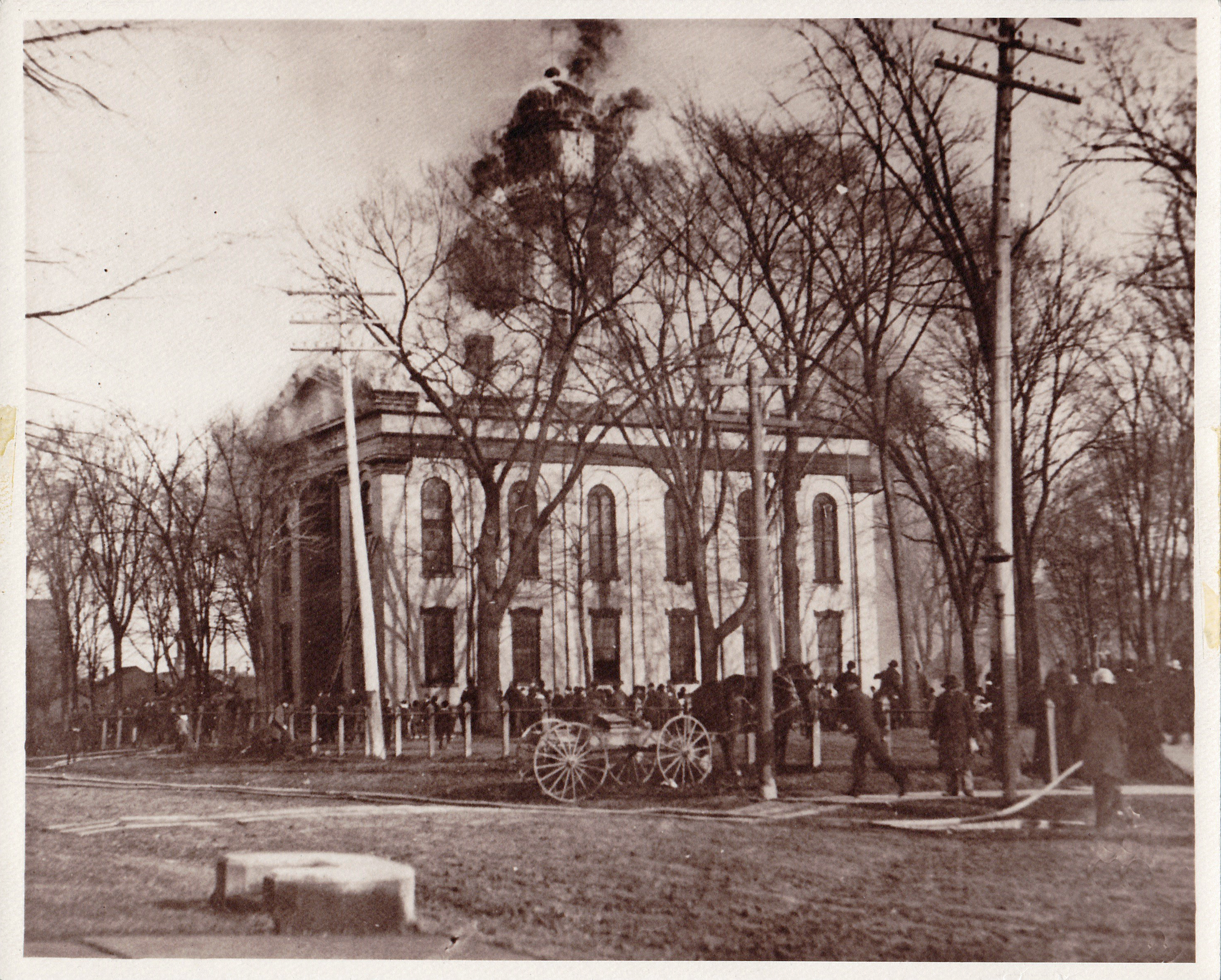 The second Trumbull County Courthouse was destroyed by fire in 1895.