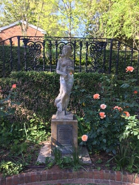 Statue commemorating the 25th anniversary of the National Council of Garden Clubs. Presented to the Founders Memorial Garden in 1954. The Ladies Garden Club was the first garden club in America and set the precedent for gardens clubs across the US.