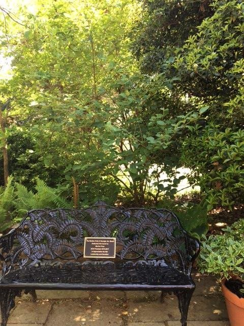 These iron benches are placed throughout the garden's paths. They are each dedicated to various supporters and friends of the Garden Club of Georgia and the Founders Memorial Garden.