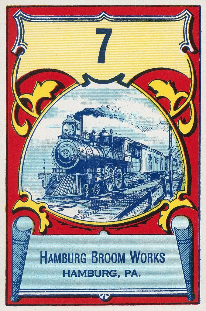 A vintage advertisement for Hamburg Broom Works featuring a locomotive from the near Reading Railroad, 1920