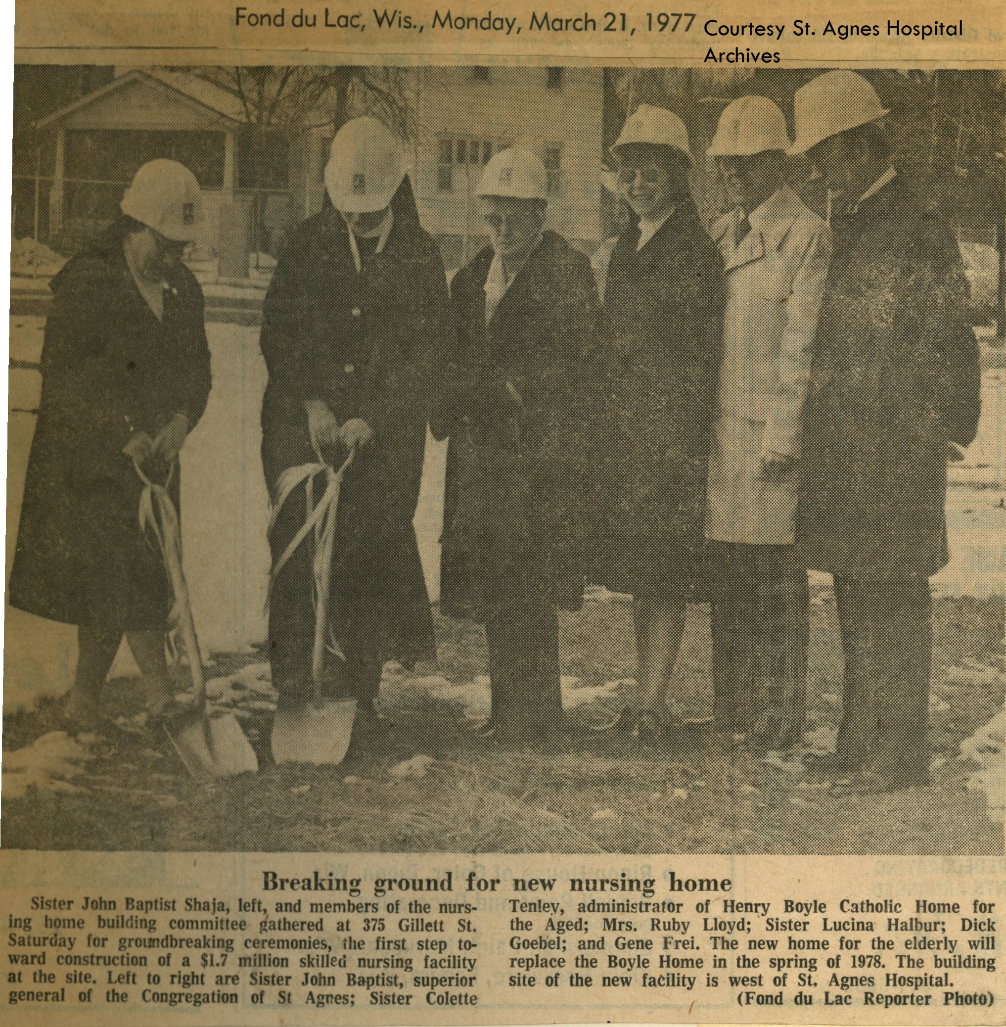 News clipping from groundbreaking ceremony for St. Francis Home, 1977.