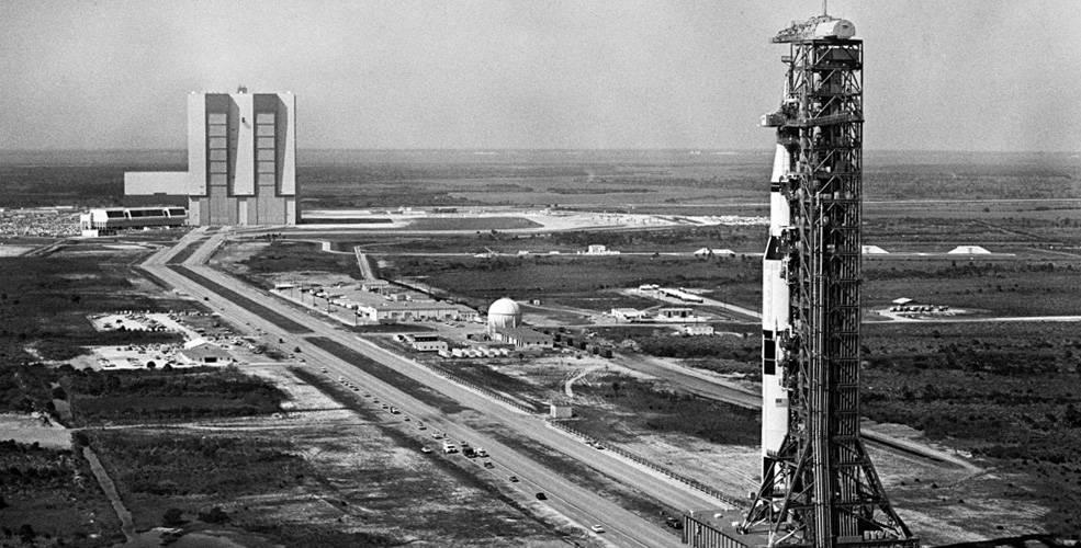 Apollo 10's Saturn V rocket prepares for launch.