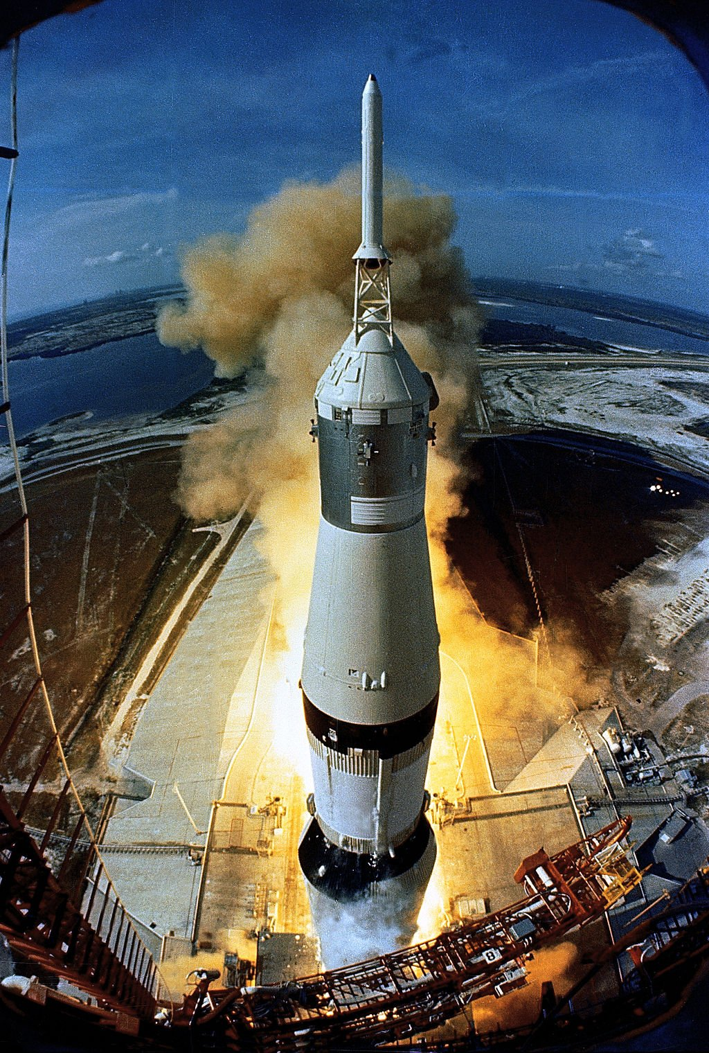 Apollo 11's Saturn V rocket launched from the Kennedy Space Center's Launch Pad 39A, the only one of the original pads still in use today. Courtesy of NASA, Wikimedia Commons.