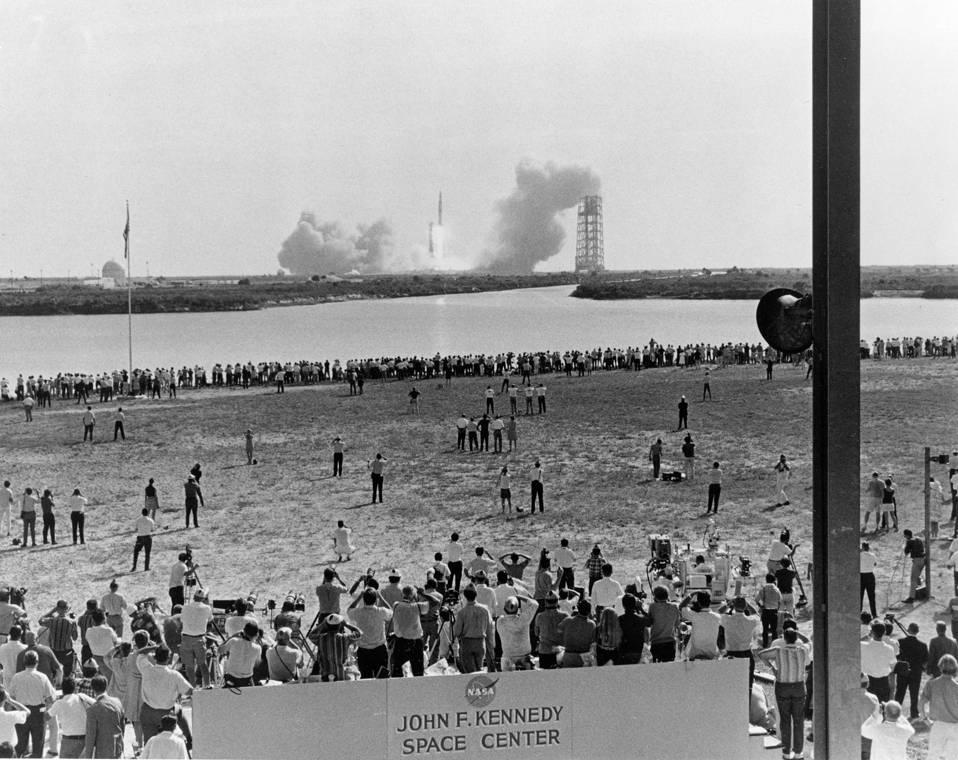 Thousands gathered at Kennedy Space Center on July 16, 1969, to watch the launch of Apollo 11. Four days later, on July 20, Neil Armstrong and Buzz Aldrin took the first steps on the Moon. Courtesy Project Apollo 11 Archive.