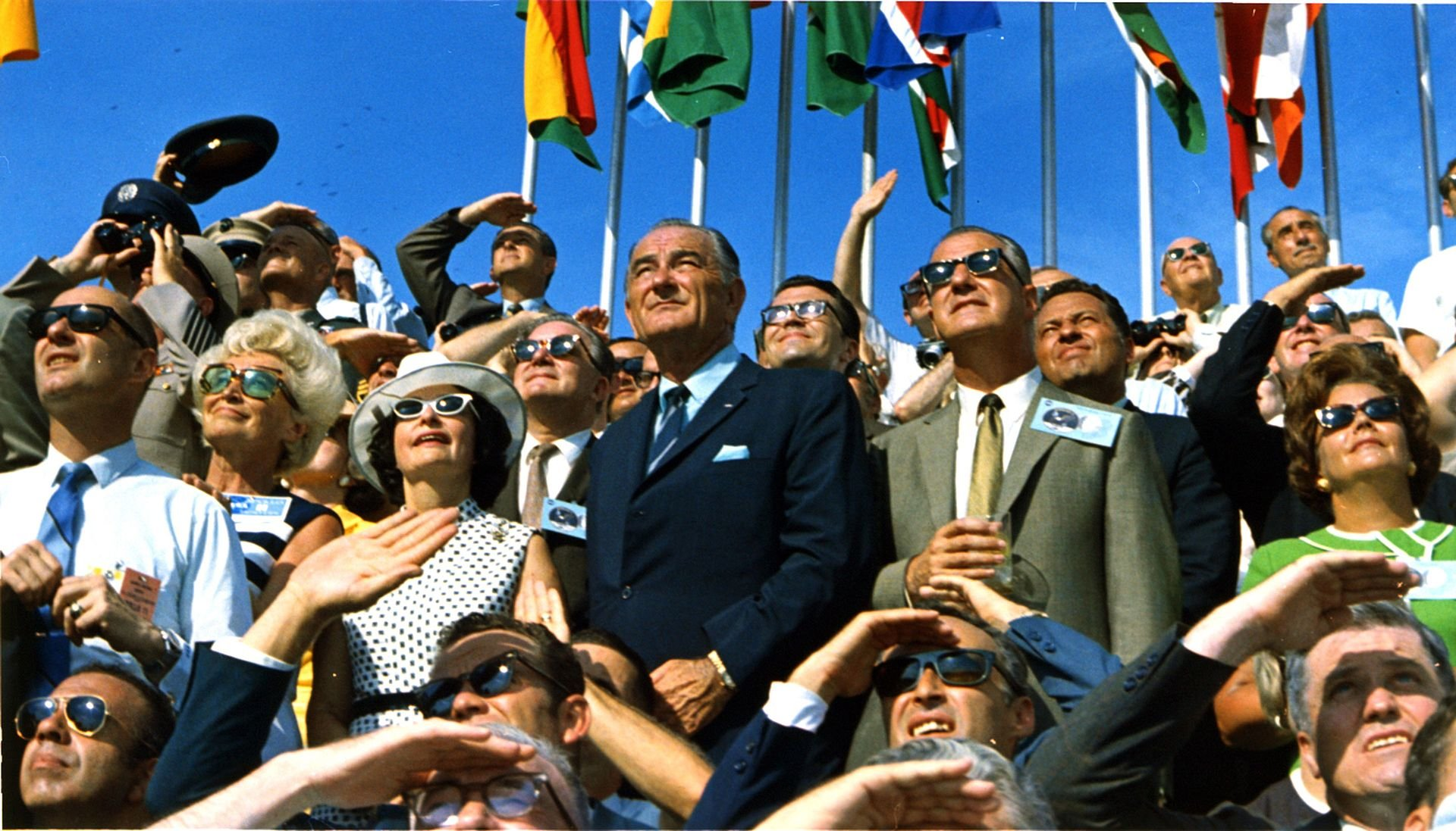 Former President Lyndon B. Johnson and Vice President Spiro Agnew observe the Apollo 11 liftoff at the Kennedy Space Center on July 16, 1969. Courtesy of NASA.