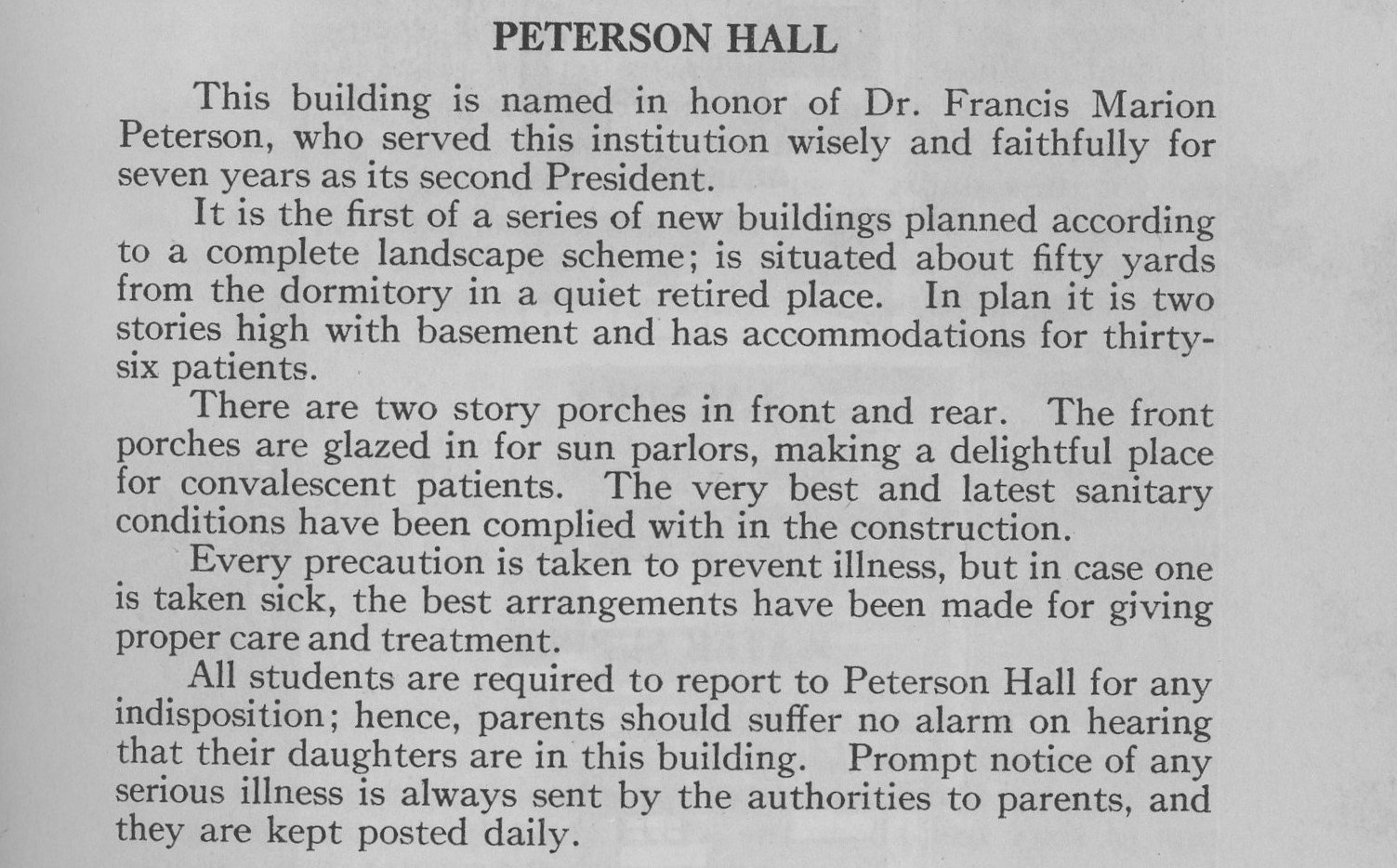 A description of Peterson Hall taken from the 1914-15 course catalog
