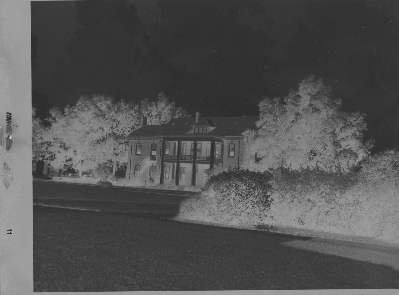 A photo negative of Peterson Hall