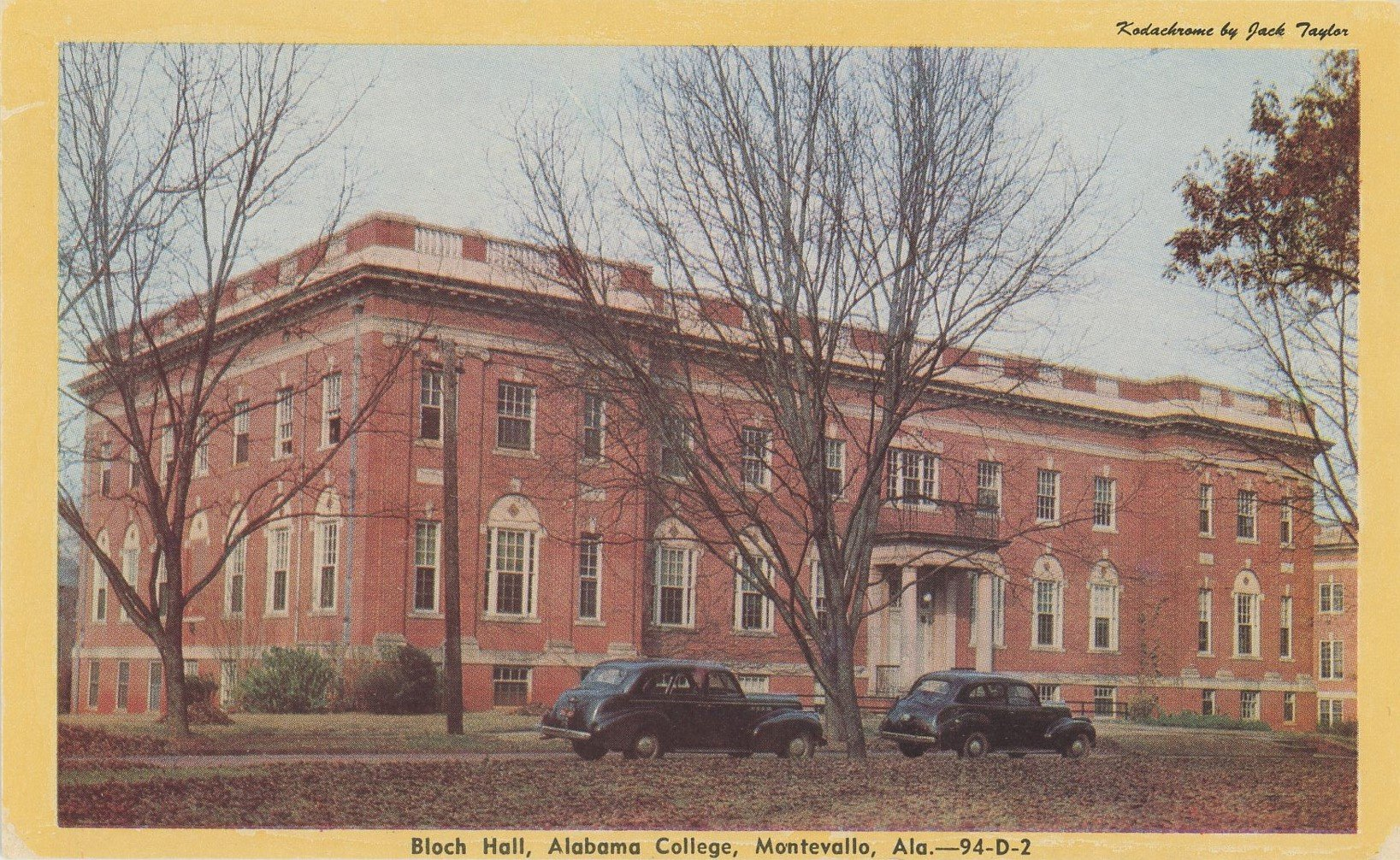 A postcard with a picture of Bloch Hall