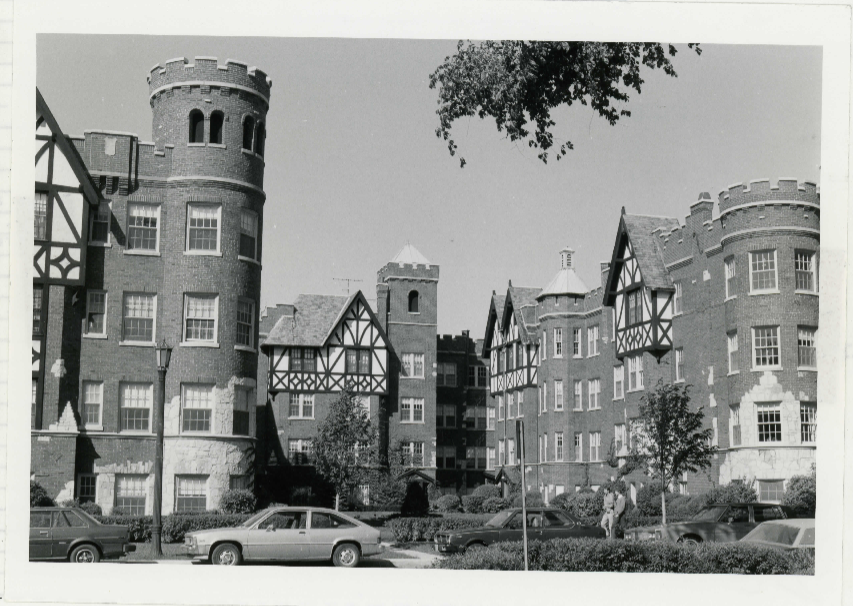 Taken 1983 - Castle features, Tudor-style and the courtyard are prominent in this photo.