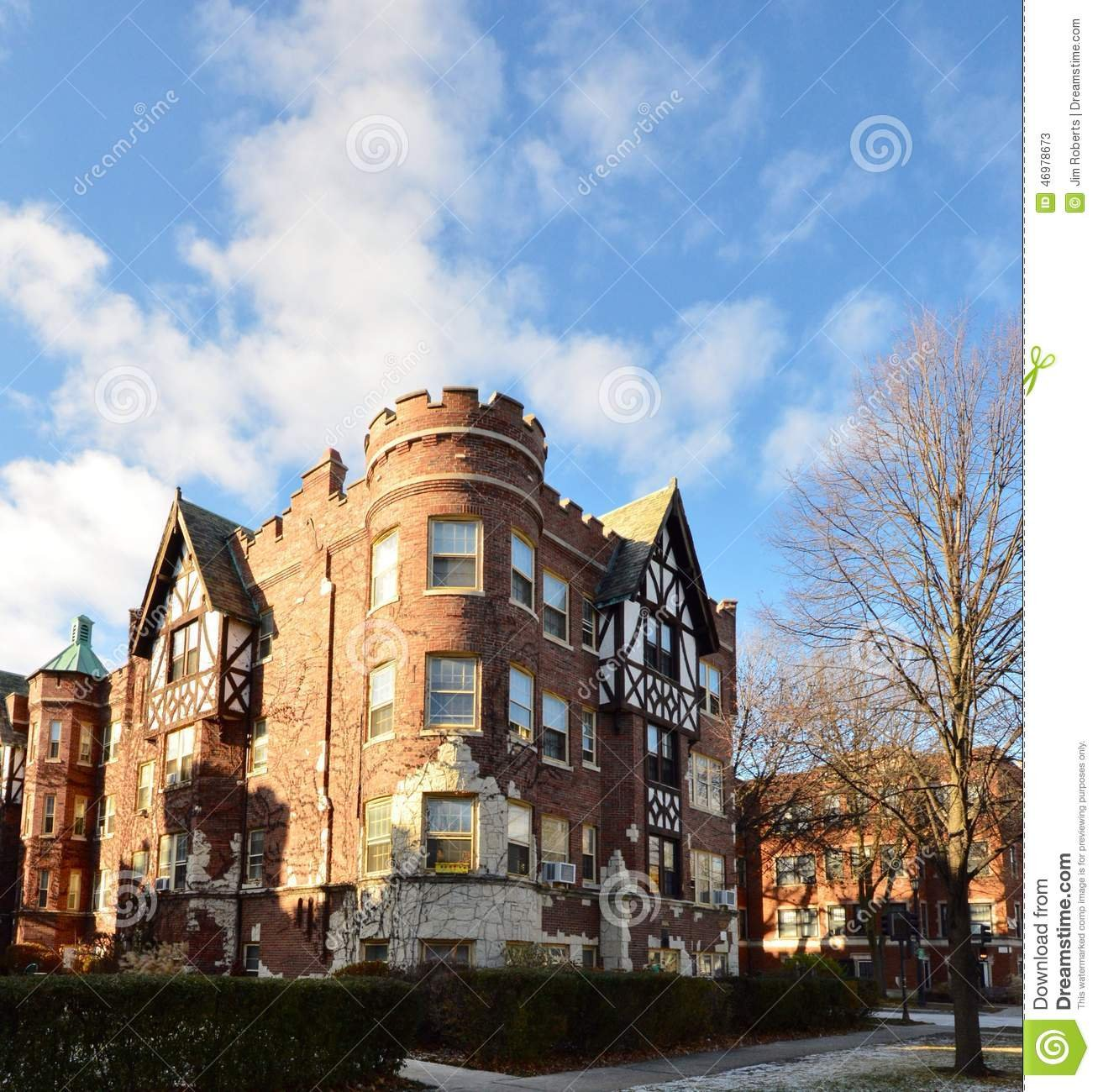 """This is a picture of the Castle Tower Apartments in Evanston, Illinois. This structure is an example of the Tudor Revival Architectural Style and was built in 1928. The apartment building was added to the National Register of Historic Places on March 15,"