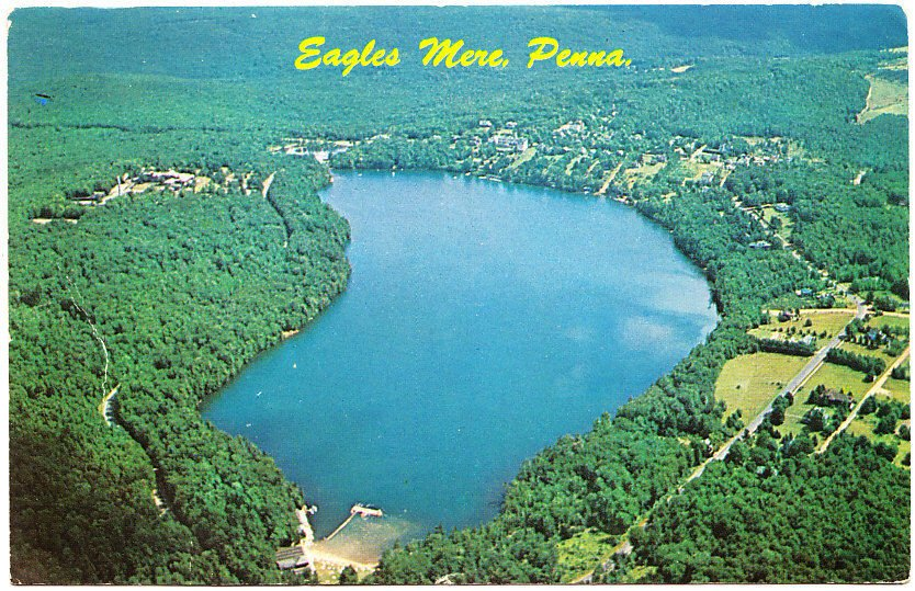 A 1963 aerial view of Eagles Mere Lake and surrounding area.