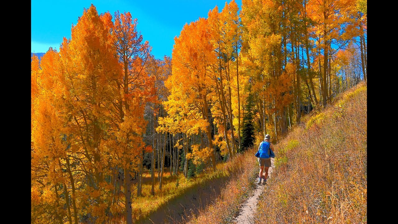 A hiker enjoys the fall foliage on one of the many trails that wends its way around Eagles Mere Lake.