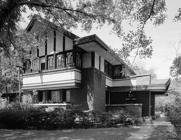 1967 Photo of Frederick B. Carter, Jr. House, designed in the Prairie School style, by Walter Burley Griffin in 1910.