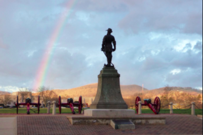 The Statue overlooking the main parade field on VMI's central campus