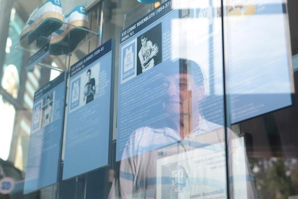"""Legend"" Lennie Rosenbluth Looks at his Placard in the CBM"