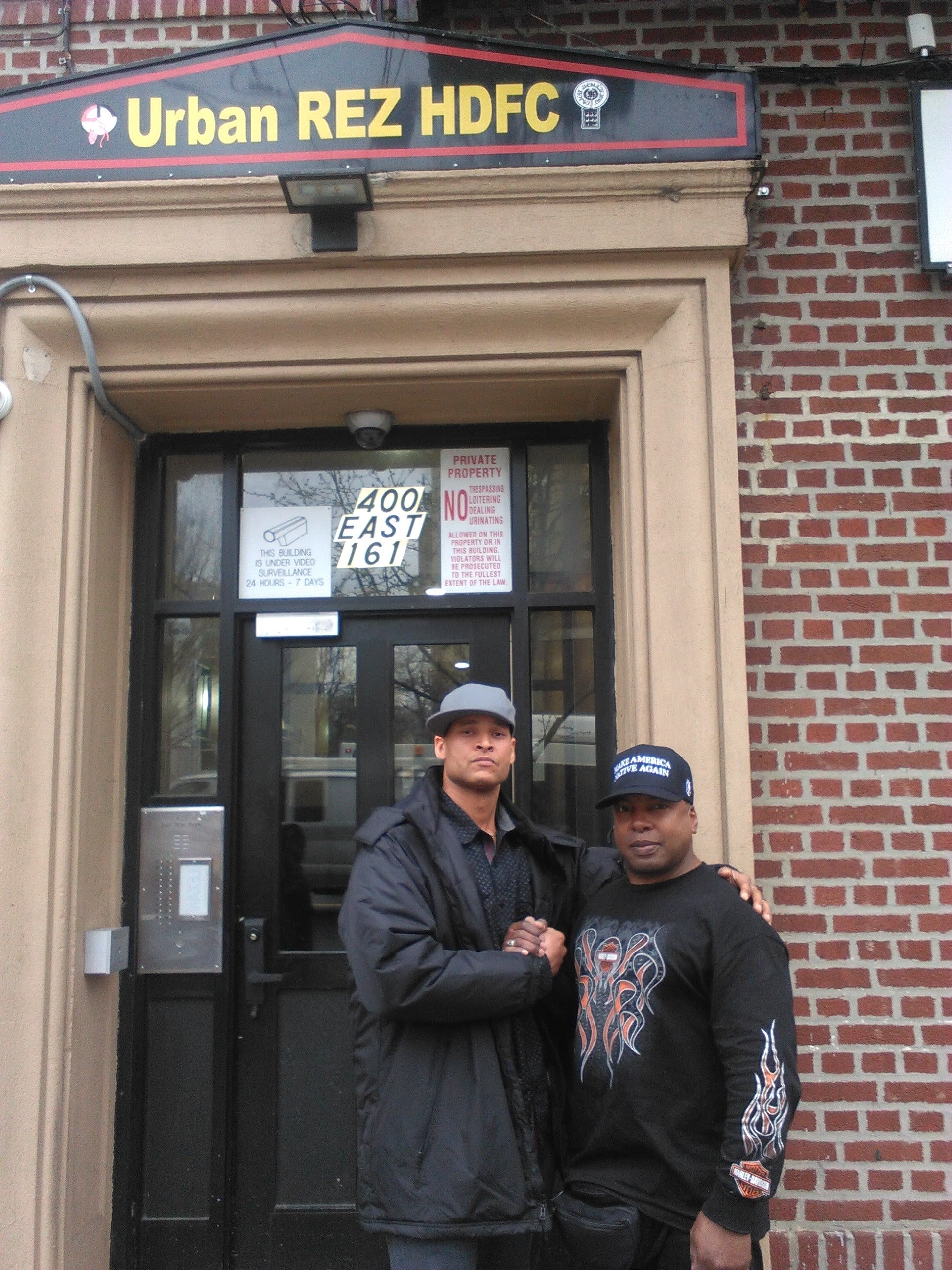 Greywolf and I, the interviewer, outside of The Urban Reservation