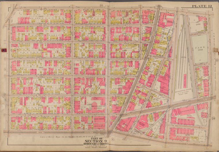 Map of Westchester Avenue, Brook Avenue and 156th Street in 1911 (area where Via Verde is located today)