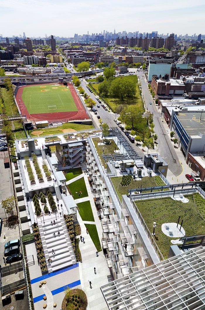Overhead view of Via Verde's outdoor green spaces