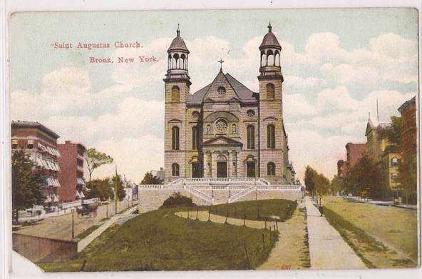 Saint Augustine in a 1909 colorized photo, then known as Saint Augustus Church. This is the church on 1180 Fulton Avenue, built in 1894. (Image from the Saint Augustine – Our Lady of Victory website)